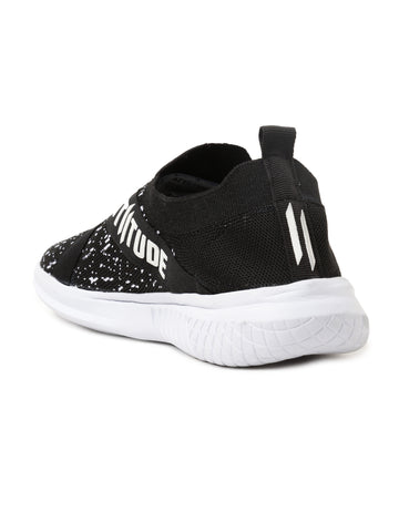 Men Blacktextured Mesh Slip-On Sneakers