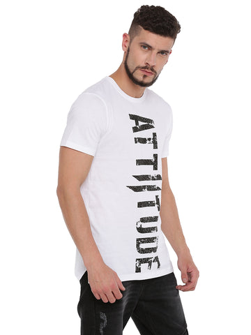 ATTIITUDE white t shirt with fabric bonding and cap sleeve