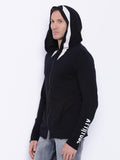 Attiitude printed Sleeve Black zipper hoodies