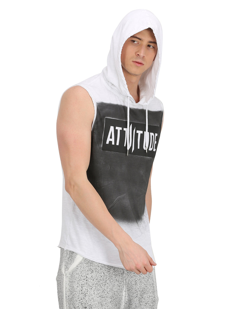 ATTIITUDE WHITE AND GREY WASHED SLEEVELESS T-SHIRT