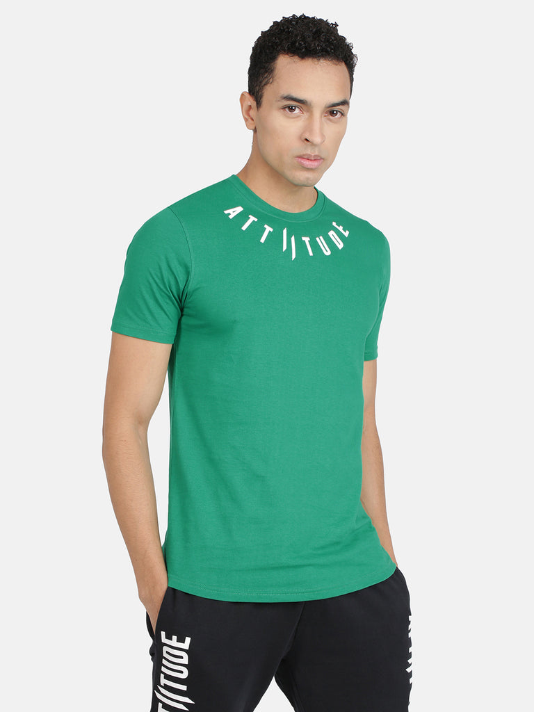 Attiitude Medallion Printed Logo T-Shirt-Green
