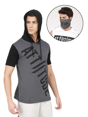 ATTIITUDE MENS GREY HOODIE T-SHIRT DOUBLE II LOGO