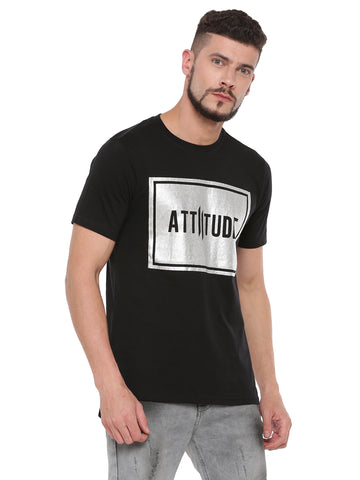 ATTIITUDE BLACK TSHIRT WITH TEXT BOX & ASYMMETRICAL HEM