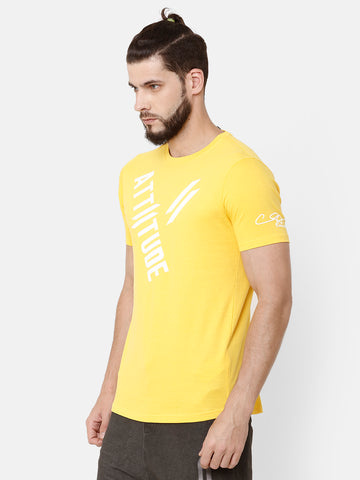 Attiitude Diagonal Printed T-Shirt  Yellow