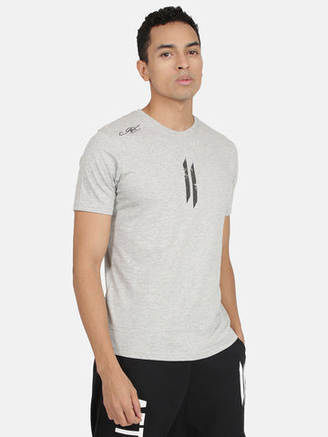 Attiitude Printed Double I Logo On Chest -Grey Melange