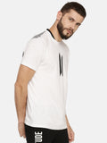 White T-Shirt With Black Rib Screen Print Logo