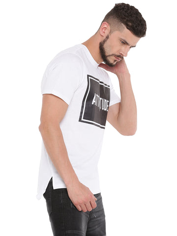 ATTIITUDE WHITE TSHIRT WITH TEXT BOX & ASYMMETRICAL HEM