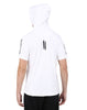 WHITE PRINTED SLEEVE HOODED T-SHIRT AND BLACK CAP