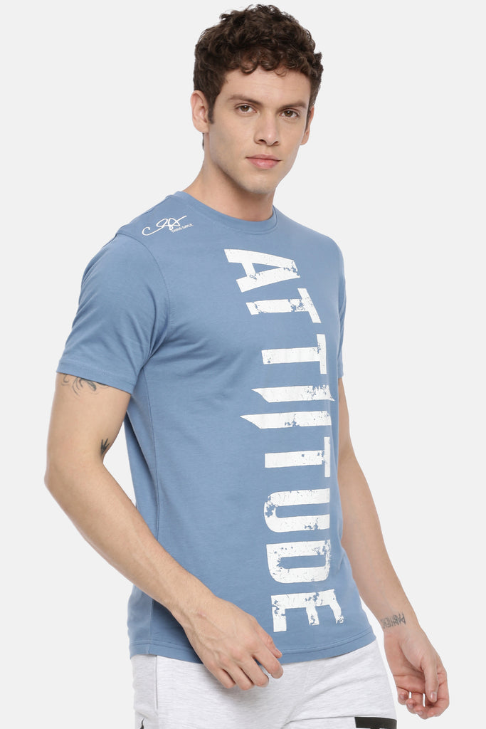 Attiitude Vertical Logo Printed T-Shirt  Torquoise Blue