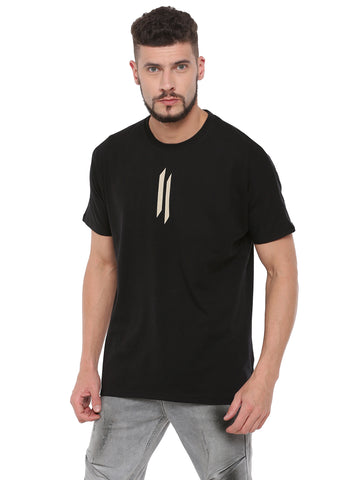 Attiitude Diagonal Printed T-Shirt  Black