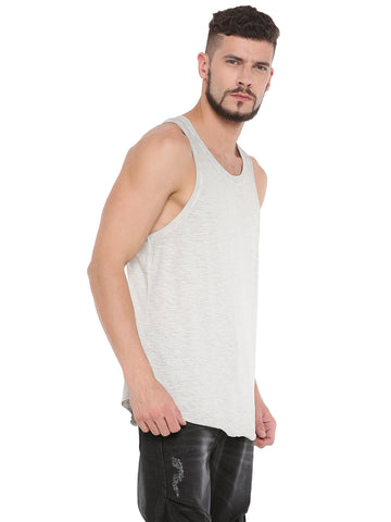 ATTIITUDE JET BLACK TANK TOP WITH GREY FLOCK PRINT