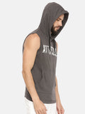 GREY SLEEVELESS HOODIE WITH SPRAY PRINT