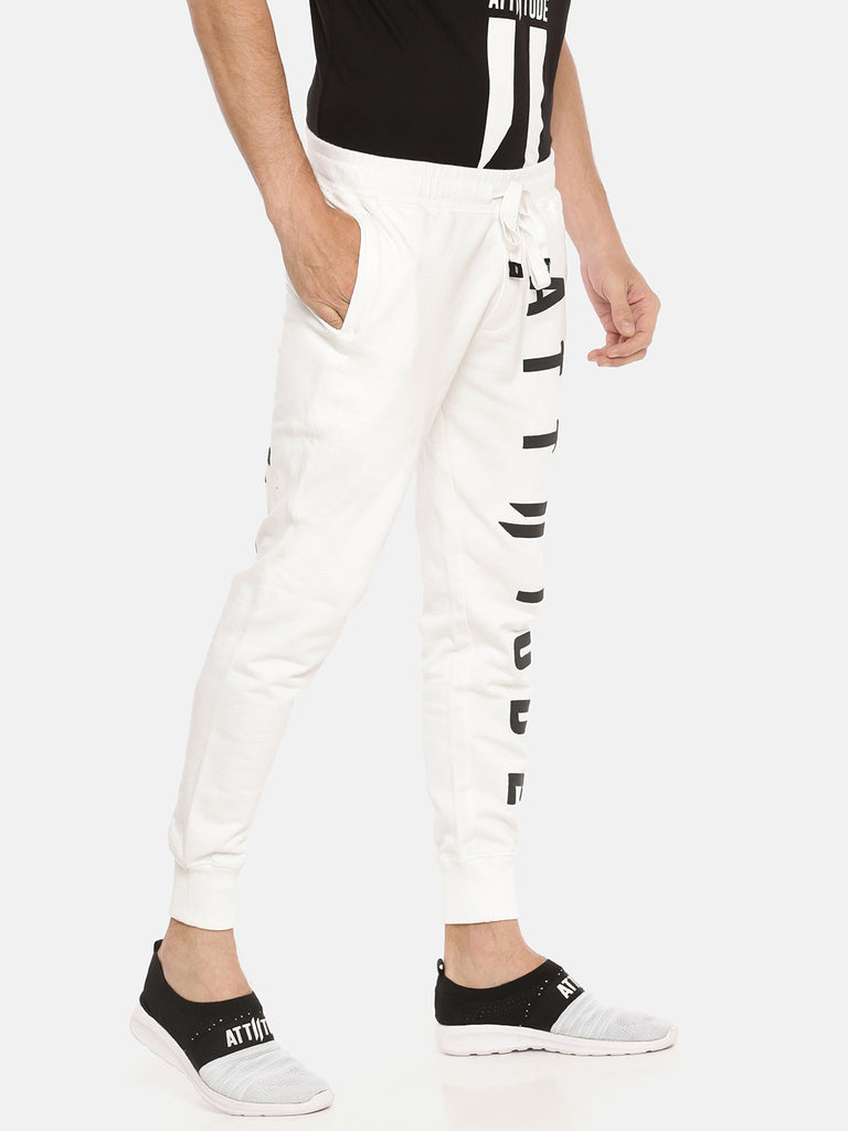 White Slim Fit Jogger With Vertical Logo Print