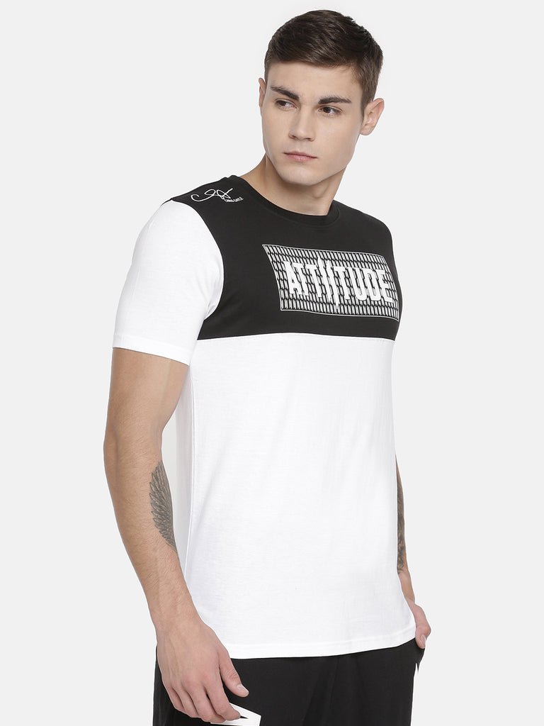 WHITE WITH BLACK HD PRINT ON CHEST