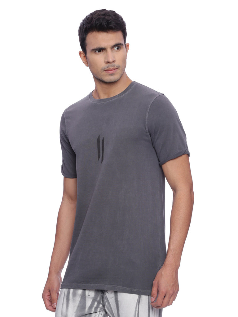 ATTIITUDE CHARCOAL GREY GARMENT-DYED  T-SHIRT
