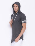 Attiitude charcoal grey half sleeve hoodies