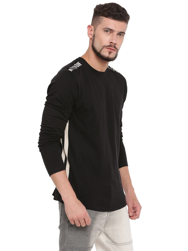 Attiitude Black Full Sleeve T-Shirt With Cut-N-Sew Panels