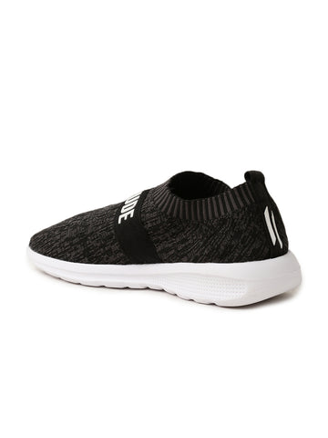 Men Grey Textured Mesh Slip-On Sneakers
