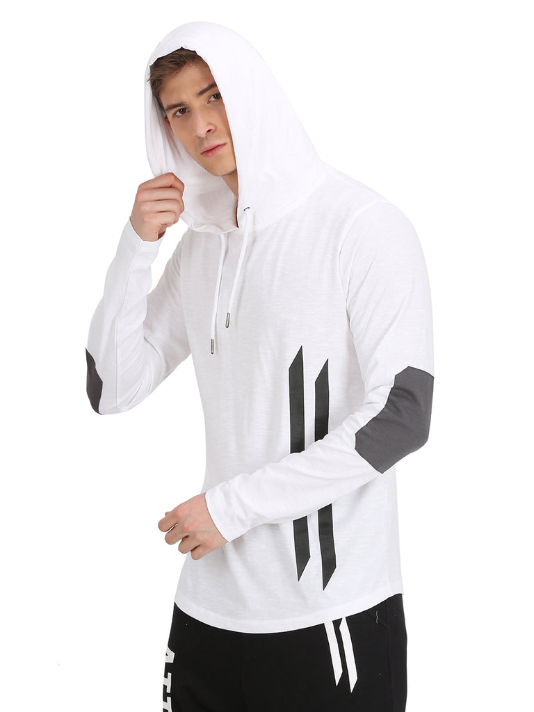 GREY ELBOW PATCH WHITE HOODED T-SHIRT