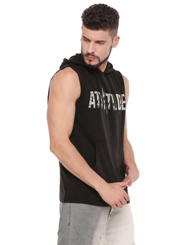 WASHED HOODED WHITE SLEEVELESS T-SHIRT.