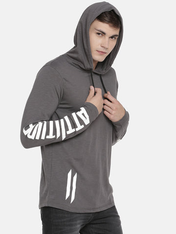 GREY HOODED T-SHIRT WITH PRINTED LOGO ON SLEEVE