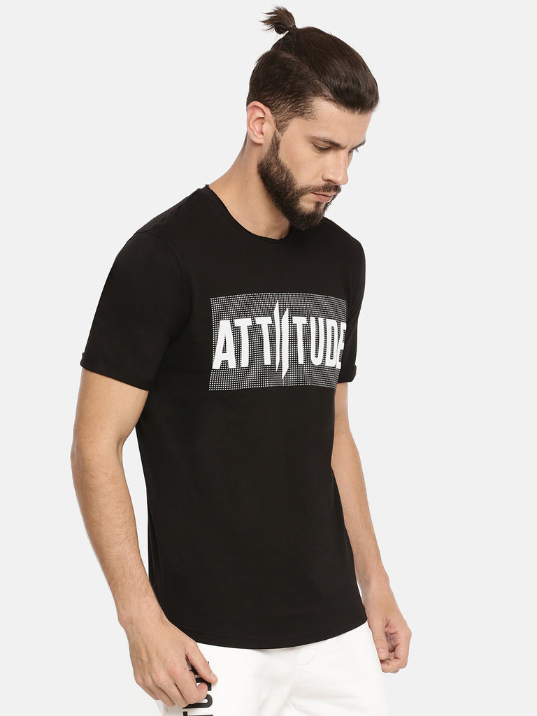 Black T-Shirt With Printed Brand Logo On Sliver  Print