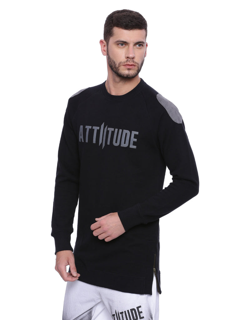 ATTIITUDE BLACK SUEDE PATCHED SWEATSHIRTS