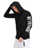 ATTIITUDE BLACK HOODED T-SHIRT WITH PRINTED LOGO ON SLEEVE
