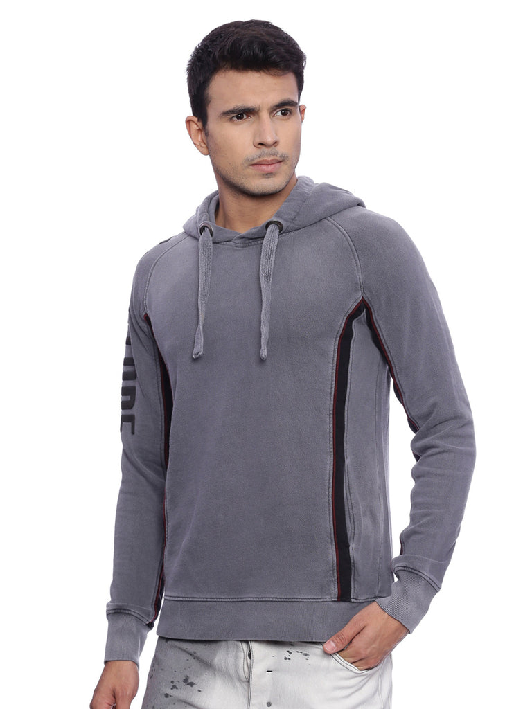 Attiitude Charcoal Garment overdyed longline hoodie