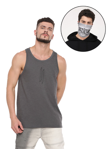 LIGHT GREY VEST AND MASK