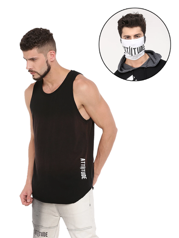 ATTIITUDE MENS BLACK DENIM + ATTIITUDE WHITE SLEEVELESS HOODIE WITH SPRAY