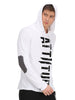 Flock Print White Hooded T-Shirt