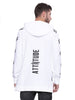 ATTIITUDE white FRENCH TERRY long line HOODIES WITH RED ZIPPER