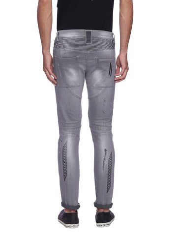 ATTIITUDE GREY DISTRESSED DENIM WITH STITCHED DETAIL