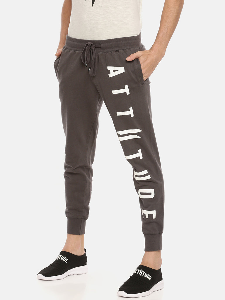 Dark Grey Slim Fit Jogger With Vertical Logo Print