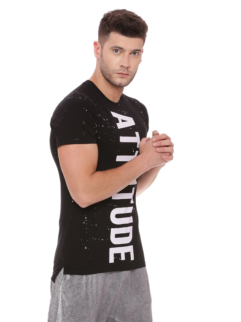 Attiitude Regular Hem Black T shirt with Spray Wash