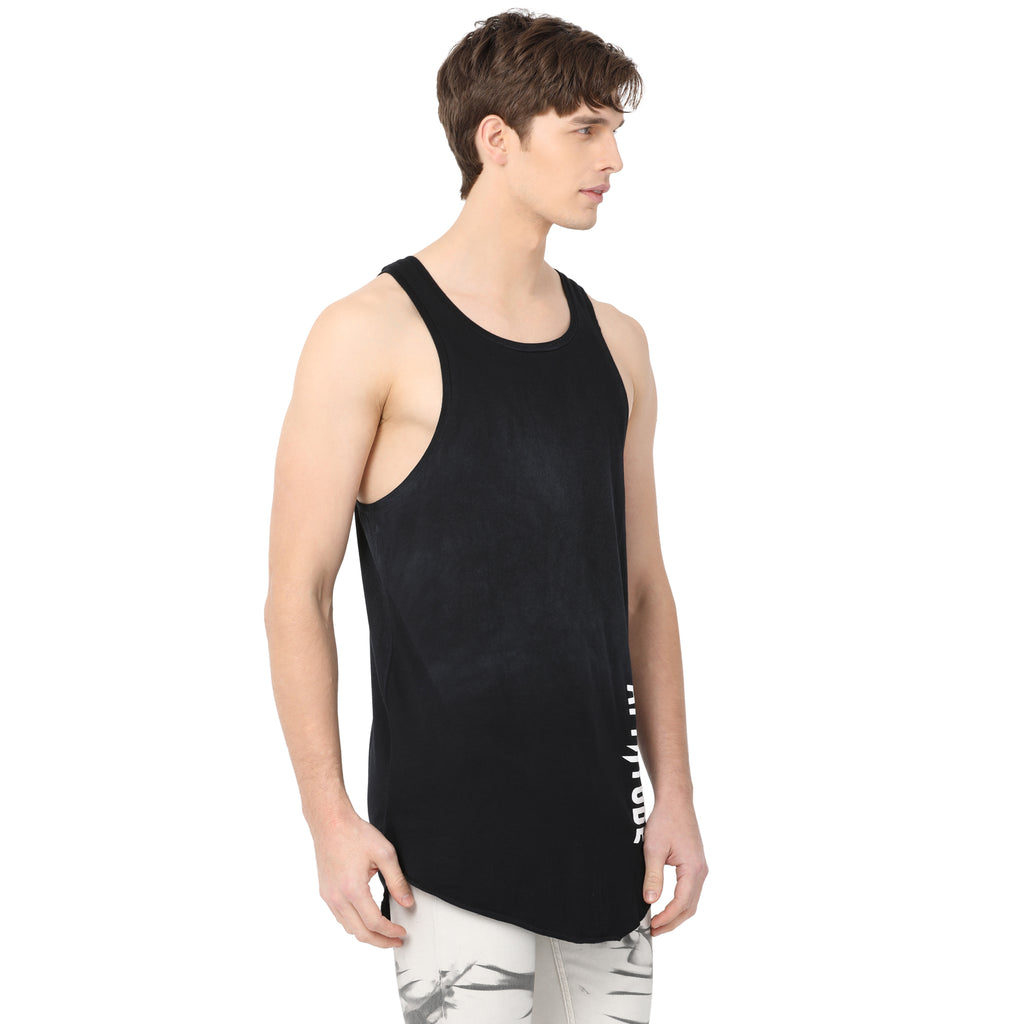 Attiitude Black Sleeveless Loose-Fit T-shirt for Men