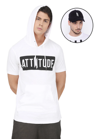 GREY PRINTED SLEEVE HOODED T-SHIRT AND BLACK CAP