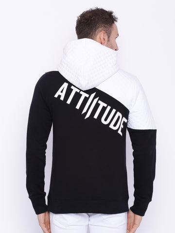 Attiitude White & Black  Dual Tone Quilted Hoodies