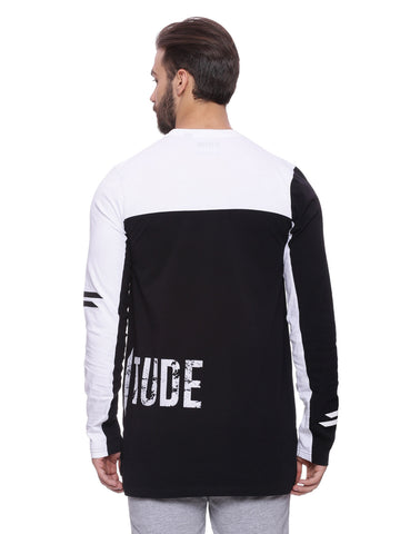 ATTIITUDE panelled t-shirt with black flock print