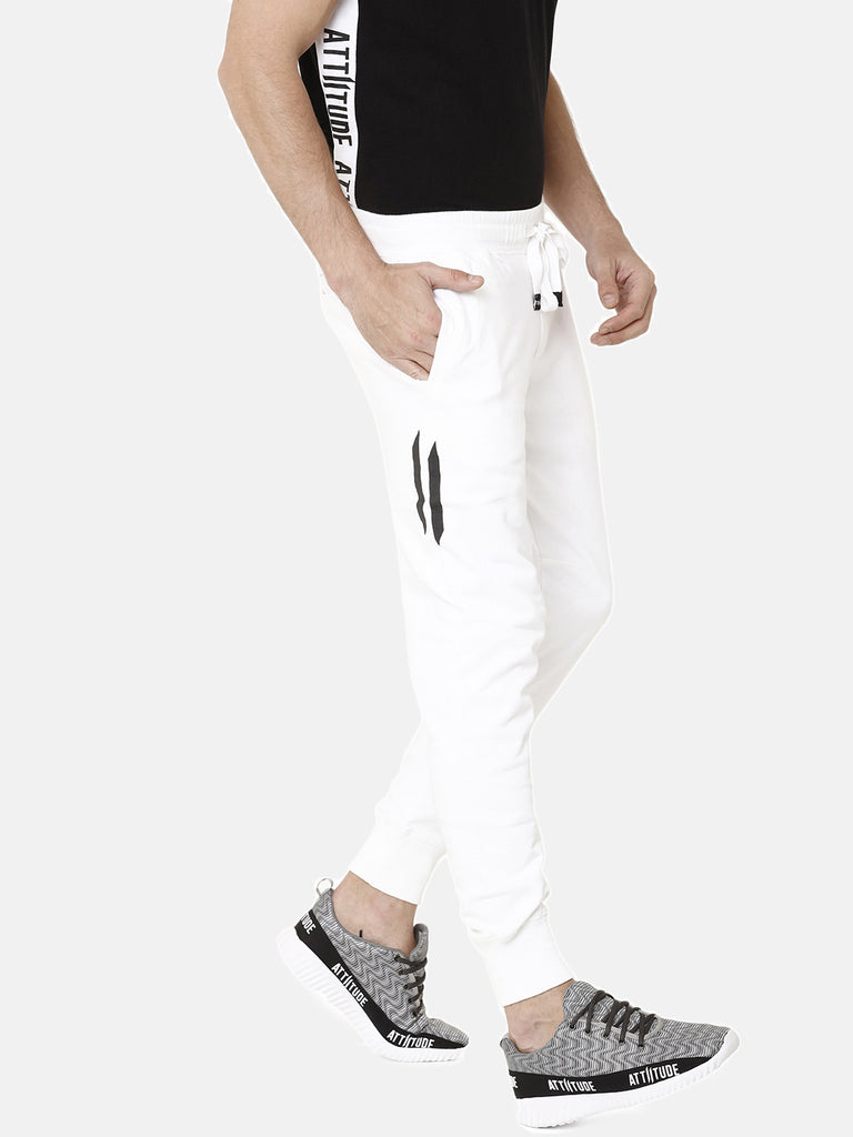 White Slim Fit Jogger With Logo Print
