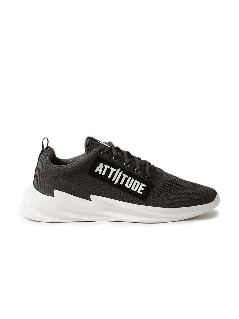 Men Grey Lace-Up Sneaker Designed With Attiitude Tape