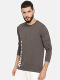 Non Pvc Matte Print Full Sleeve Grey T-Shirt