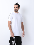 Attiitude White Raglan T Shirt with suede panels