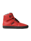 Men High Top Flat Boots Styled With Attiitude Logo On Ankle-Red