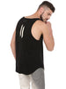 ATTIITUDE BLACK TANKTOP WITH RAW EDGE APPLIQUE