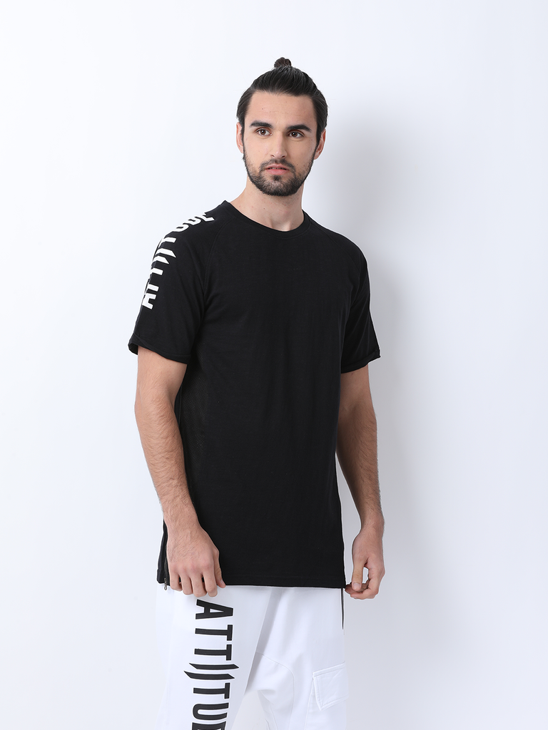 ATTIITUDE Black Raglan T-Shirt with Suede panels