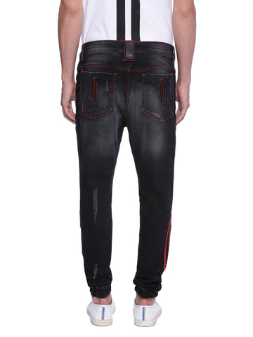Attiitude Black distressed denim