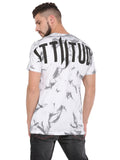 ATTIITUDE WHITE BOXY FIT T-SHIRT WITH T&D WASH