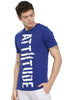 Attiitude Vertical Logo Printed T-Shirt  Dark Blue